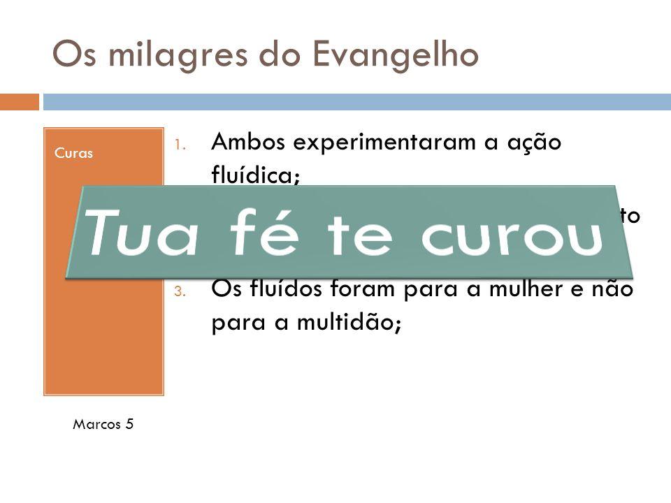 Os milagres do Evangelho Curas 1. Ambos experimentaram a ação fluídica; 2. O efeito foi realizado sem nenhum ato de vontade de Jesus; 3. Os fluídos fo