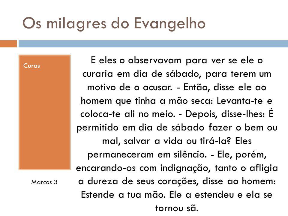 Os milagres do Evangelho Curas E eles o observavam para ver se ele o curaria em dia de sábado, para terem um motivo de o acusar.