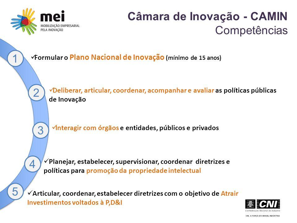 Câmara de Inovação - CAMIN Competências 1 Formular o Plano Nacional de Inovação (mínimo de 15 anos) Deliberar, articular, coordenar, acompanhar e avaliar as políticas públicas de Inovação Interagir com órgãos e entidades, públicos e privados Planejar, estabelecer, supervisionar, coordenar diretrizes e políticas para promoção da propriedade intelectual Articular, coordenar, estabelecer diretrizes com o objetivo de Atrair Investimentos voltados à P,D&I 2 3 4 5