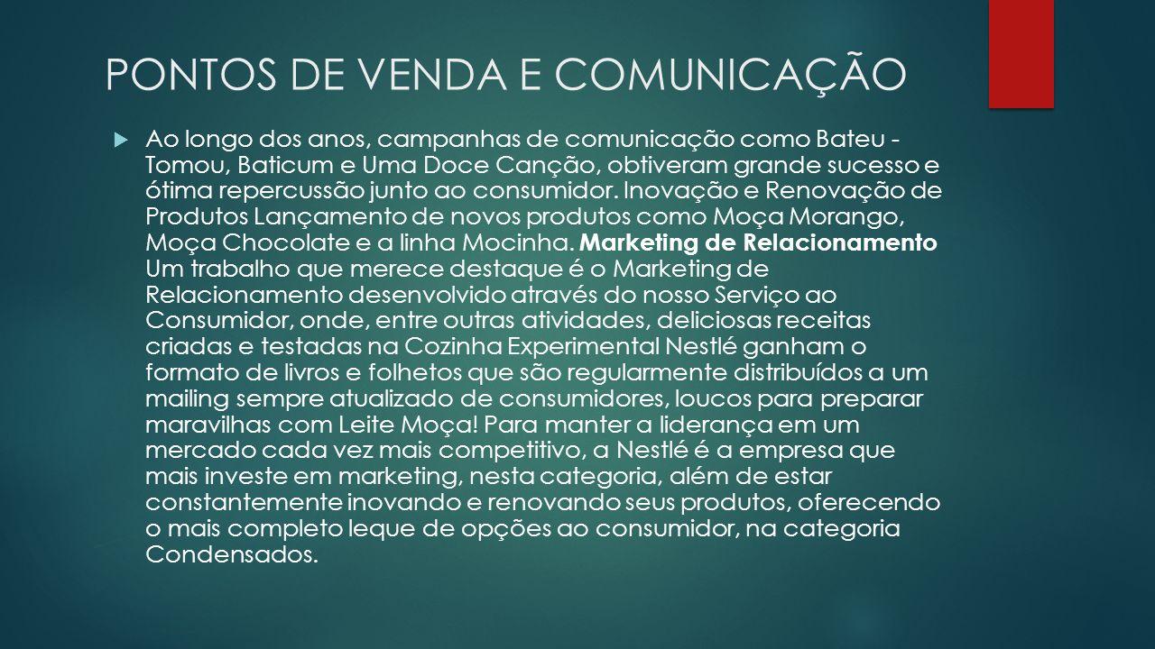 PONTOS DE VENDA E COMUNICAÇÃO Ao longo dos anos, campanhas de comunicação como Bateu - Tomou, Baticum e Uma Doce Canção, obtiveram grande sucesso e ót