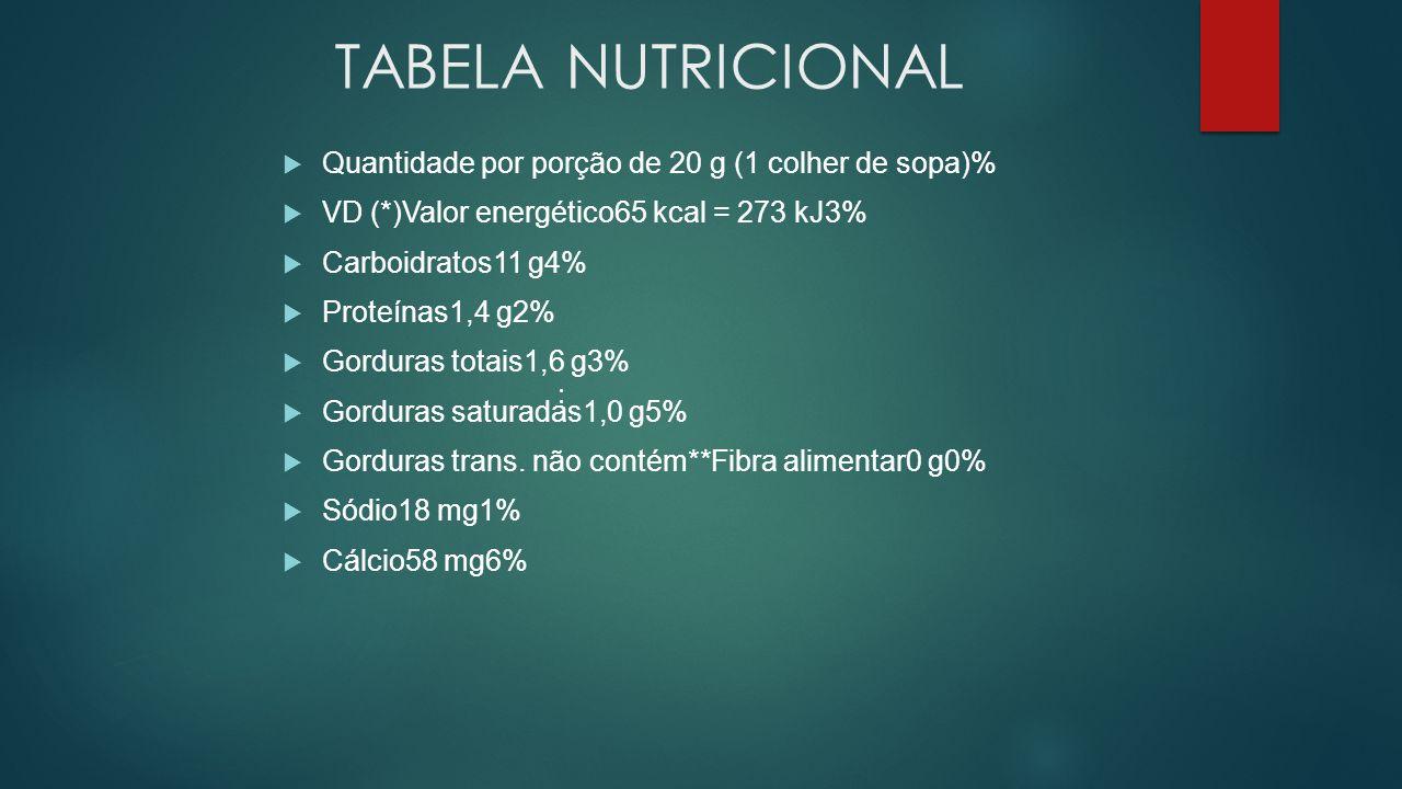 TABELA NUTRICIONAL Quantidade por porção de 20 g (1 colher de sopa)% VD (*)Valor energético65 kcal = 273 kJ3% Carboidratos11 g4% Proteínas1,4 g2% Gord