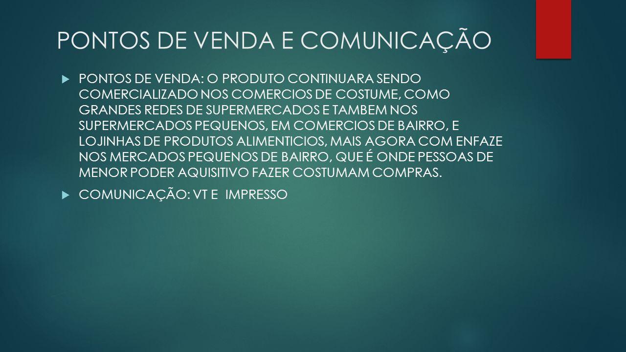 PONTOS DE VENDA E COMUNICAÇÃO PONTOS DE VENDA: O PRODUTO CONTINUARA SENDO COMERCIALIZADO NOS COMERCIOS DE COSTUME, COMO GRANDES REDES DE SUPERMERCADOS