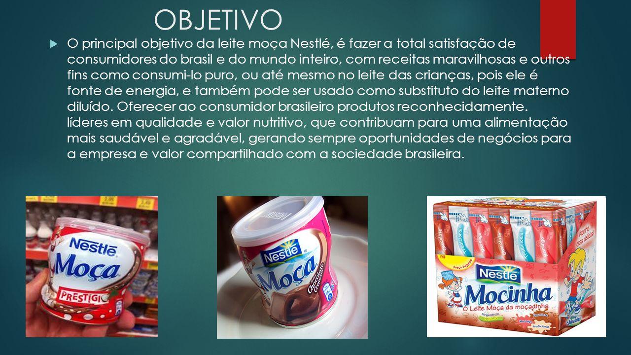 OBJETIVO O principal objetivo da leite moça Nestlé, é fazer a total satisfação de consumidores do brasil e do mundo inteiro, com receitas maravilhosas