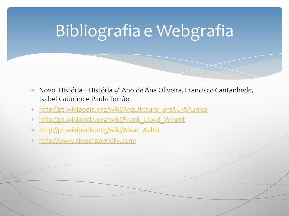 Novo História – História 9º Ano de Ana Oliveira, Francisco Cantanhede, Isabel Catarino e Paula Torrão http://pt.wikipedia.org/wiki/Arquitetura_org%C3%A2nica http://pt.wikipedia.org/wiki/Frank_Lloyd_Wright http://pt.wikipedia.org/wiki/Alvar_Aalto http://www.skyscrapercity.com/ Bibliografia e Webgrafia