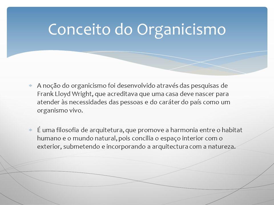 A noção do organicismo foi desenvolvido através das pesquisas de Frank Lloyd Wright, que acreditava que uma casa deve nascer para atender às necessidades das pessoas e do caráter do país como um organismo vivo.