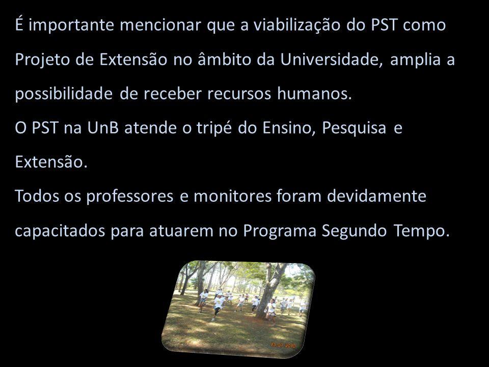 É importante mencionar que a viabilização do PST como Projeto de Extensão no âmbito da Universidade, amplia a possibilidade de receber recursos humano