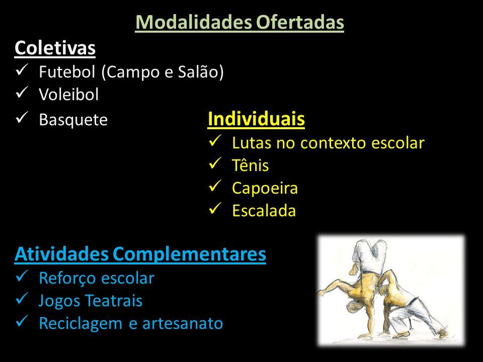 Individuais Boxe Olímpico Tênis Capoeira Escalada Modalidades Ofertadas Coletivas Futebol (Campo e Salão) Voleibol Basquete Individuais Lutas no conte