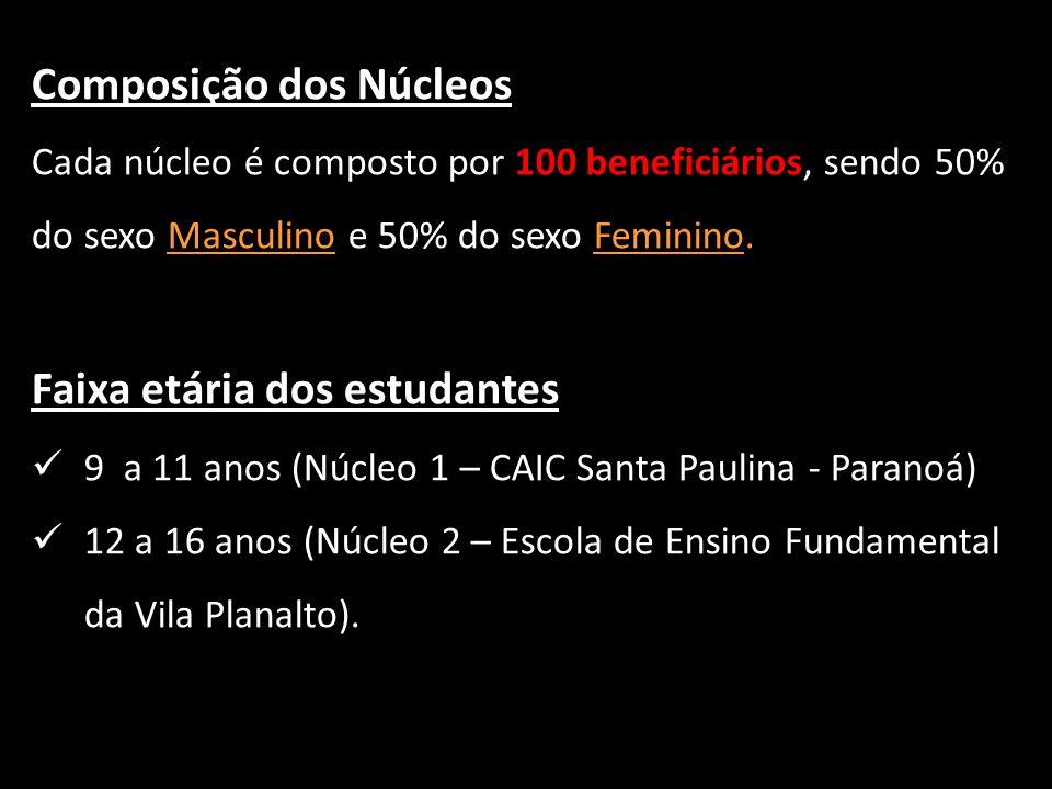 Composição dos Núcleos Cada núcleo é composto por 100 beneficiários, sendo 50% do sexo Masculino e 50% do sexo Feminino. Faixa etária dos estudantes 9