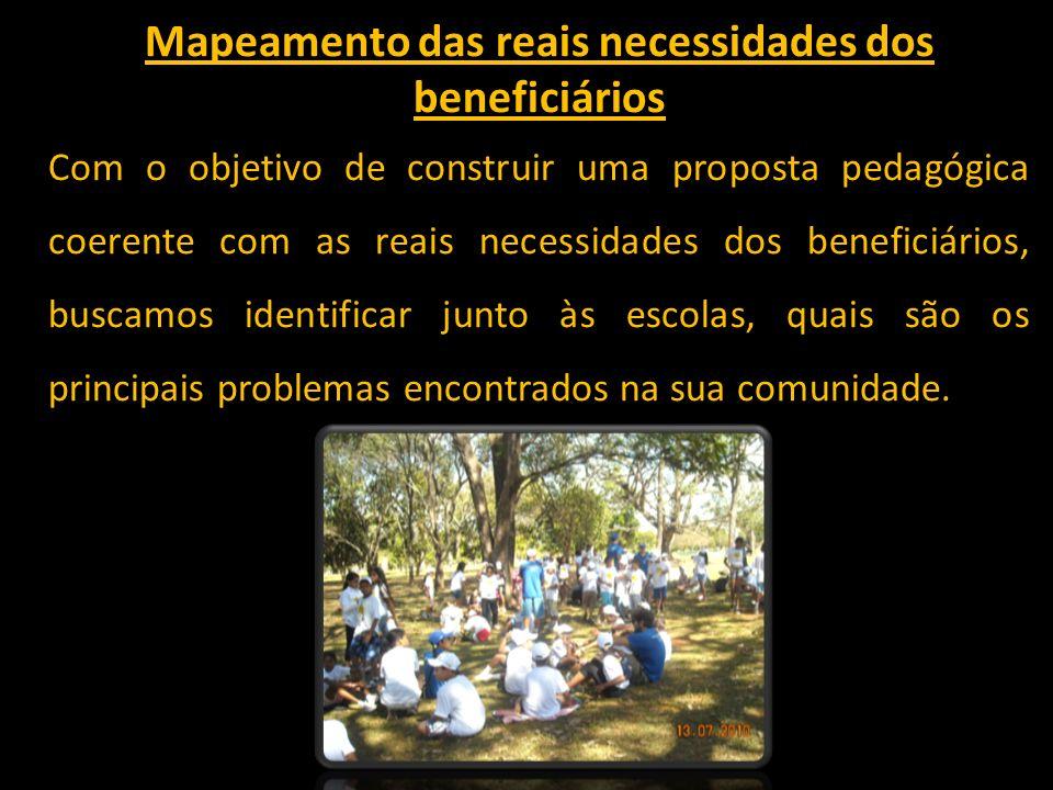 Mapeamento das reais necessidades dos beneficiários Com o objetivo de construir uma proposta pedagógica coerente com as reais necessidades dos benefic
