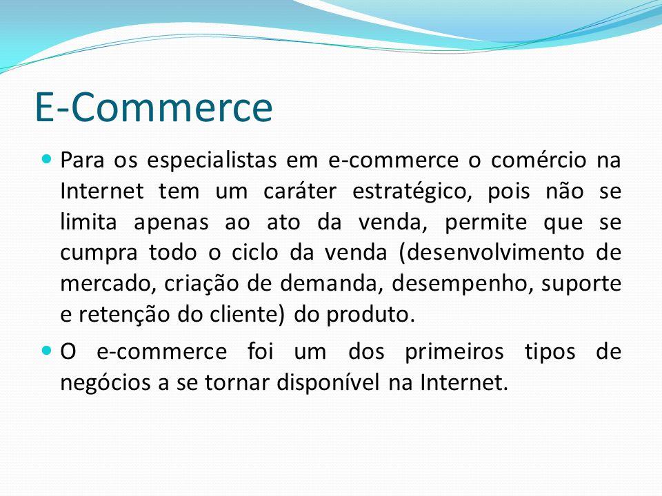 Para os especialistas em e-commerce o comércio na Internet tem um caráter estratégico, pois não se limita apenas ao ato da venda, permite que se cumpr