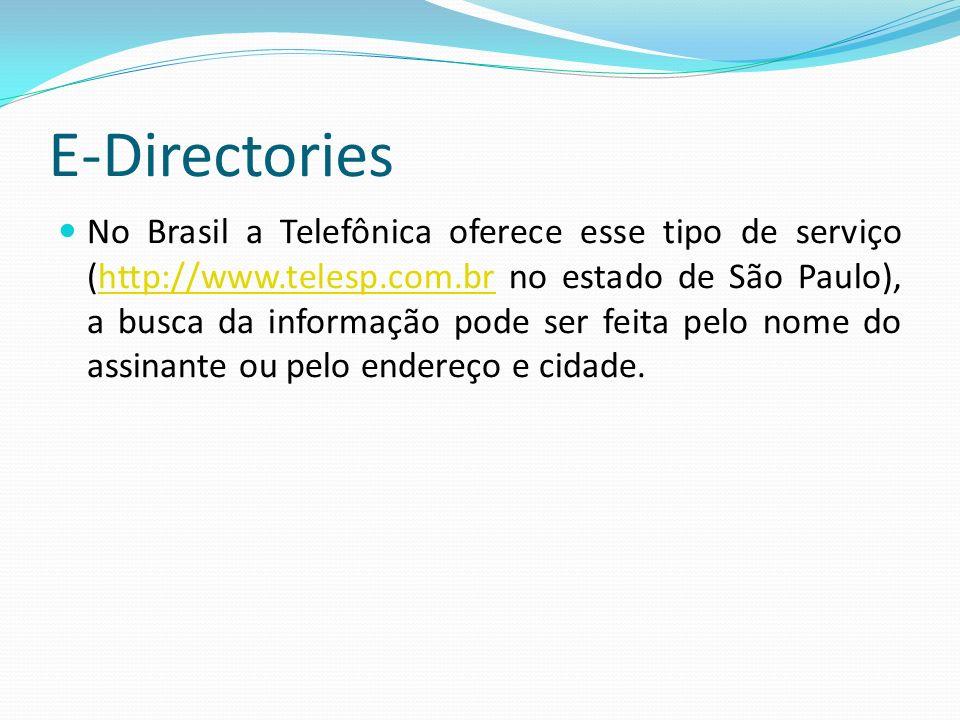 E-Directories No Brasil a Telefônica oferece esse tipo de serviço (http://www.telesp.com.br no estado de São Paulo), a busca da informação pode ser fe