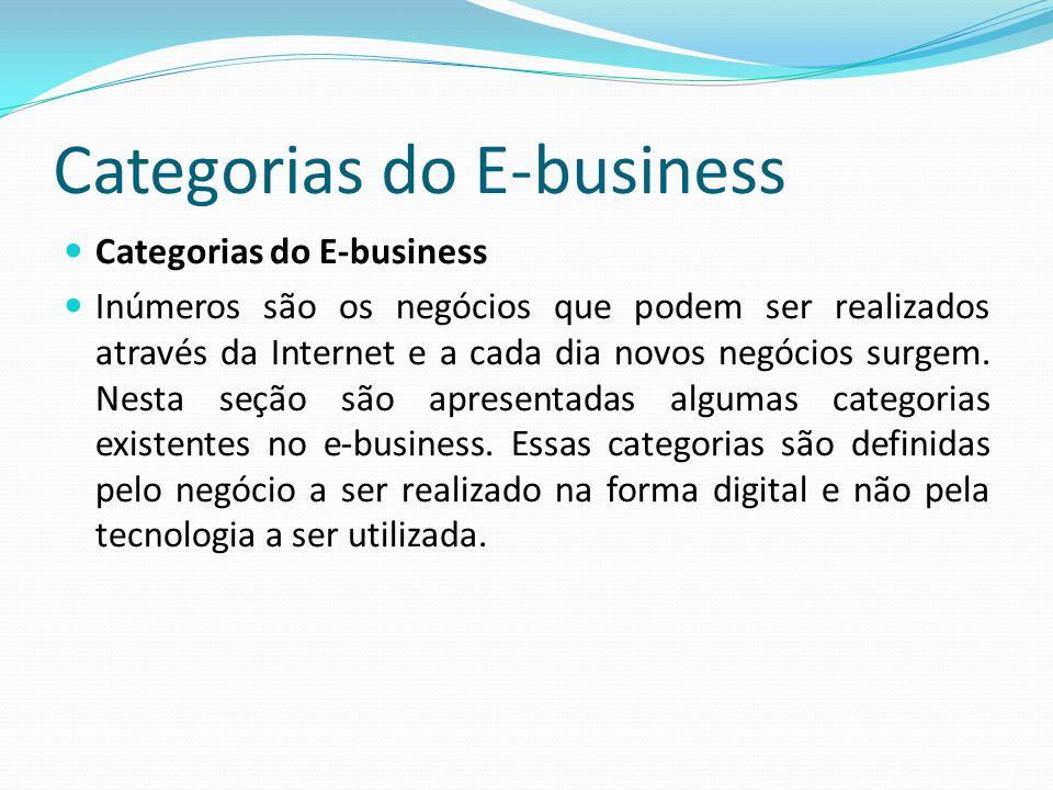 Categorias do E-business Inúmeros são os negócios que podem ser realizados através da Internet e a cada dia novos negócios surgem. Nesta seção são apr