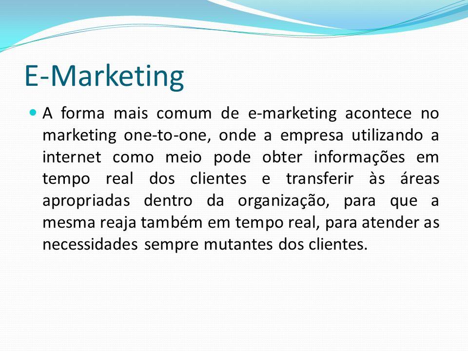 A forma mais comum de e-marketing acontece no marketing one-to-one, onde a empresa utilizando a internet como meio pode obter informações em tempo rea