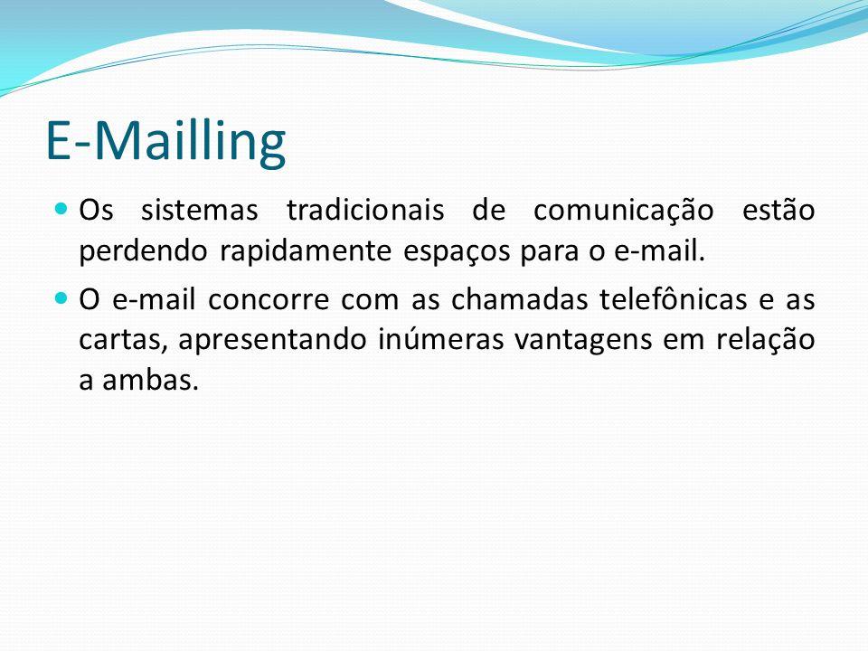 Os sistemas tradicionais de comunicação estão perdendo rapidamente espaços para o e-mail. O e-mail concorre com as chamadas telefônicas e as cartas, a