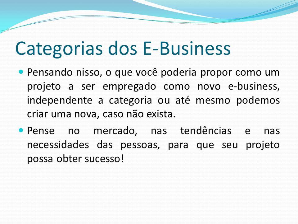 Categorias dos E-Business Pensando nisso, o que você poderia propor como um projeto a ser empregado como novo e-business, independente a categoria ou