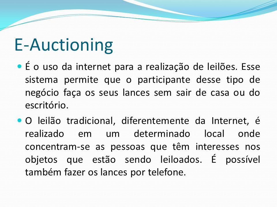 E-Auctioning O e-auctioning possibilita maior velocidade no processo de lance, menores custos, e oferece aos participantes um espaço virtual para a realização de diferentes tipos de trocas.