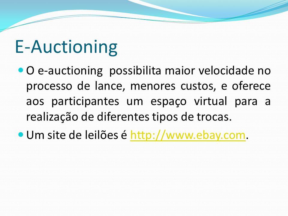 E-Auctioning O e-auctioning possibilita maior velocidade no processo de lance, menores custos, e oferece aos participantes um espaço virtual para a re