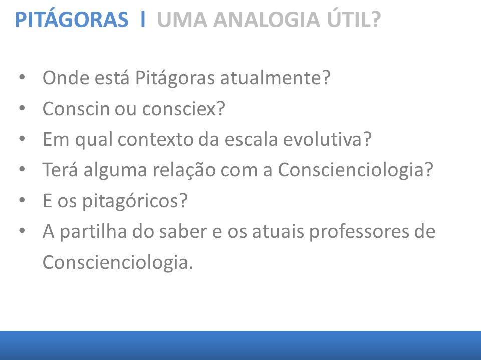 PITÁGORAS l UMA ANALOGIA ÚTIL? Onde está Pitágoras atualmente? Conscin ou consciex? Em qual contexto da escala evolutiva? Terá alguma relação com a Co