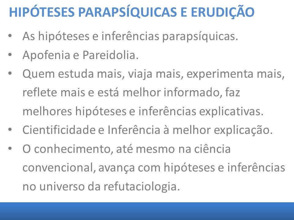 HIPÓTESES PARAPSÍQUICAS E ERUDIÇÃO As hipóteses e inferências parapsíquicas. Apofenia e Pareidolia. Quem estuda mais, viaja mais, experimenta mais, re