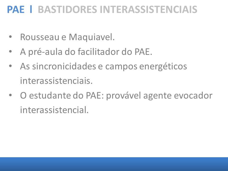 PAE l BASTIDORES INTERASSISTENCIAIS Rousseau e Maquiavel. A pré-aula do facilitador do PAE. As sincronicidades e campos energéticos interassistenciais