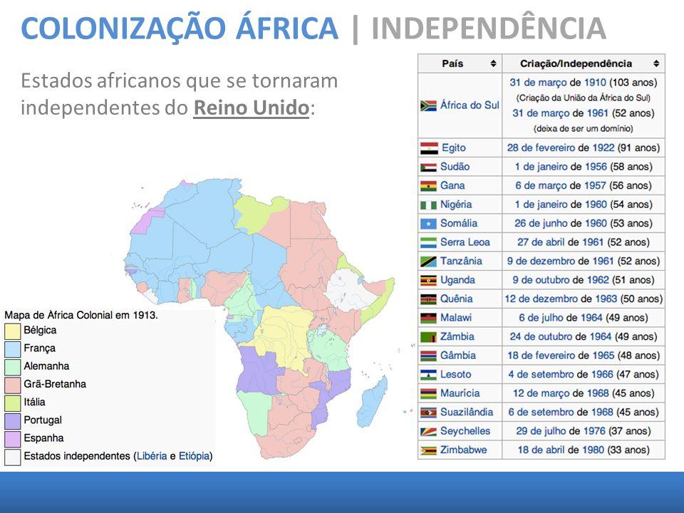 COLONIZAÇÃO ÁFRICA | INDEPENDÊNCIA Estados africanos que se tornaram independentes do Reino Unido: