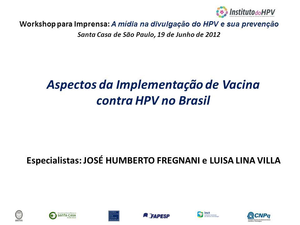 Workshop para Imprensa: A mídia na divulgação do HPV e sua prevenção Santa Casa de São Paulo, 19 de Junho de 2012 Aspectos da Implementação de Vacina