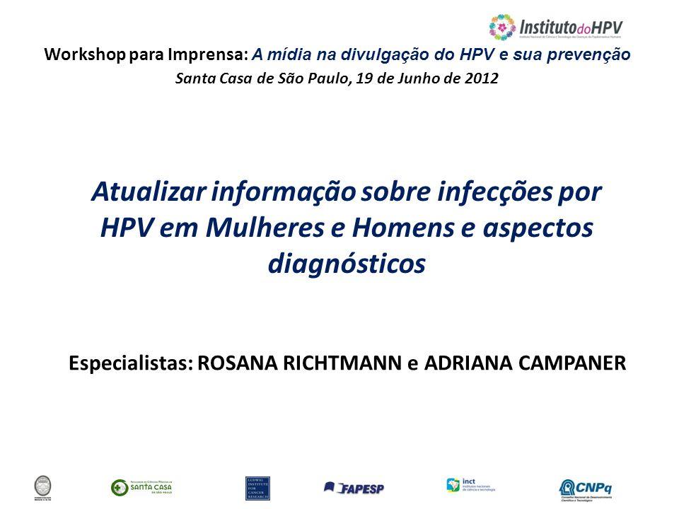 Workshop para Imprensa: A mídia na divulgação do HPV e sua prevenção Santa Casa de São Paulo, 19 de Junho de 2012 Atualizar informação sobre infecções