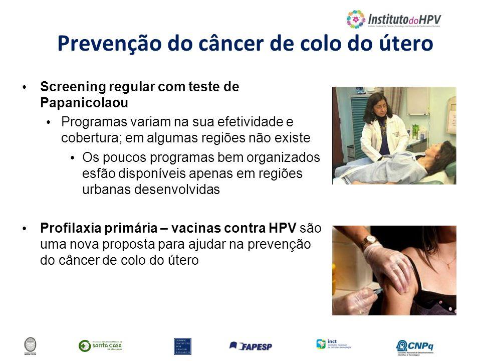 Prevenção do câncer de colo do útero Screening regular com teste de Papanicolaou Programas variam na sua efetividade e cobertura; em algumas regiões n