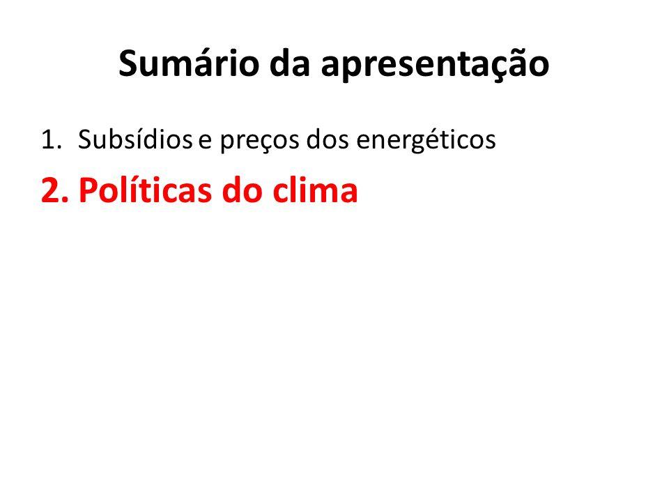 Sumário da apresentação 1.Subsídios e preços dos energéticos 2.Políticas do clima