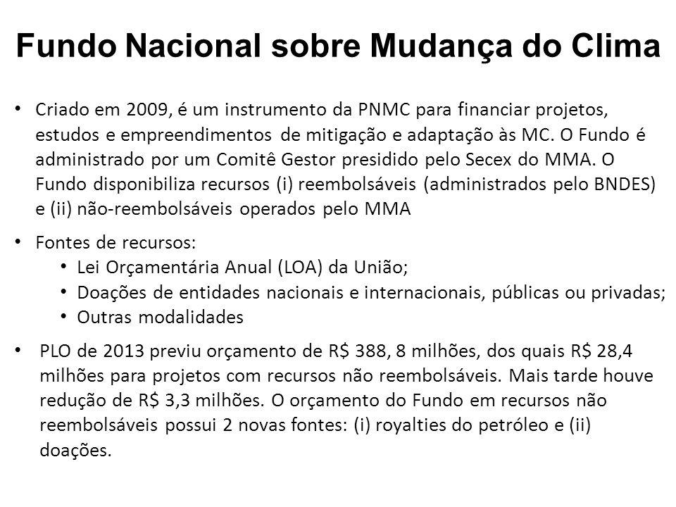 Criado em 2009, é um instrumento da PNMC para financiar projetos, estudos e empreendimentos de mitigação e adaptação às MC.