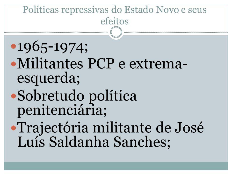 Políticas repressivas do Estado Novo e seus efeitos 1965-1974; Militantes PCP e extrema- esquerda; Sobretudo política penitenciária; Trajectória militante de José Luís Saldanha Sanches;