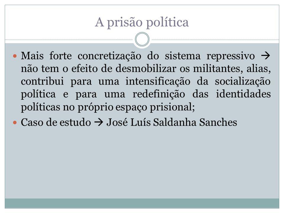 A prisão política Mais forte concretização do sistema repressivo não tem o efeito de desmobilizar os militantes, alias, contribui para uma intensifica