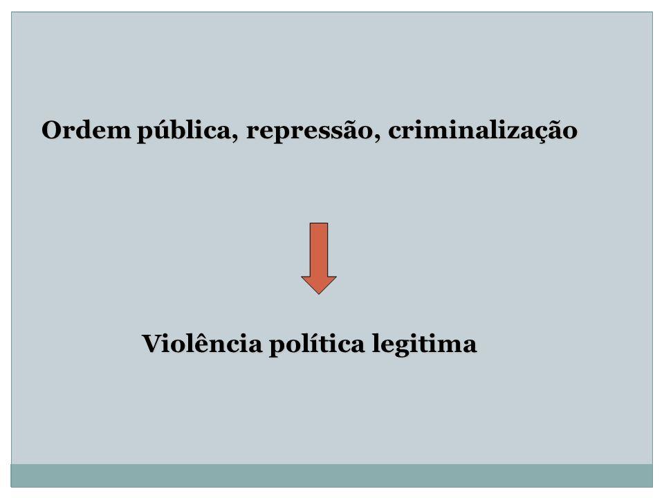 Ordem pública, repressão, criminalização Violência política legitima