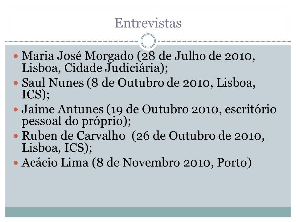 Entrevistas Maria José Morgado (28 de Julho de 2010, Lisboa, Cidade Judiciária); Saul Nunes (8 de Outubro de 2010, Lisboa, ICS); Jaime Antunes (19 de Outubro 2010, escritório pessoal do próprio); Ruben de Carvalho (26 de Outubro de 2010, Lisboa, ICS); Acácio Lima (8 de Novembro 2010, Porto)