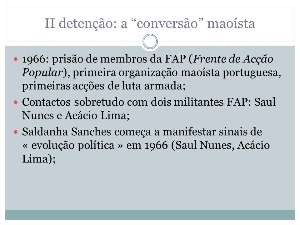 II detenção: a conversão maoísta 1966: prisão de membros da FAP (Frente de Acção Popular), primeira organização maoísta portuguesa, primeiras acções d
