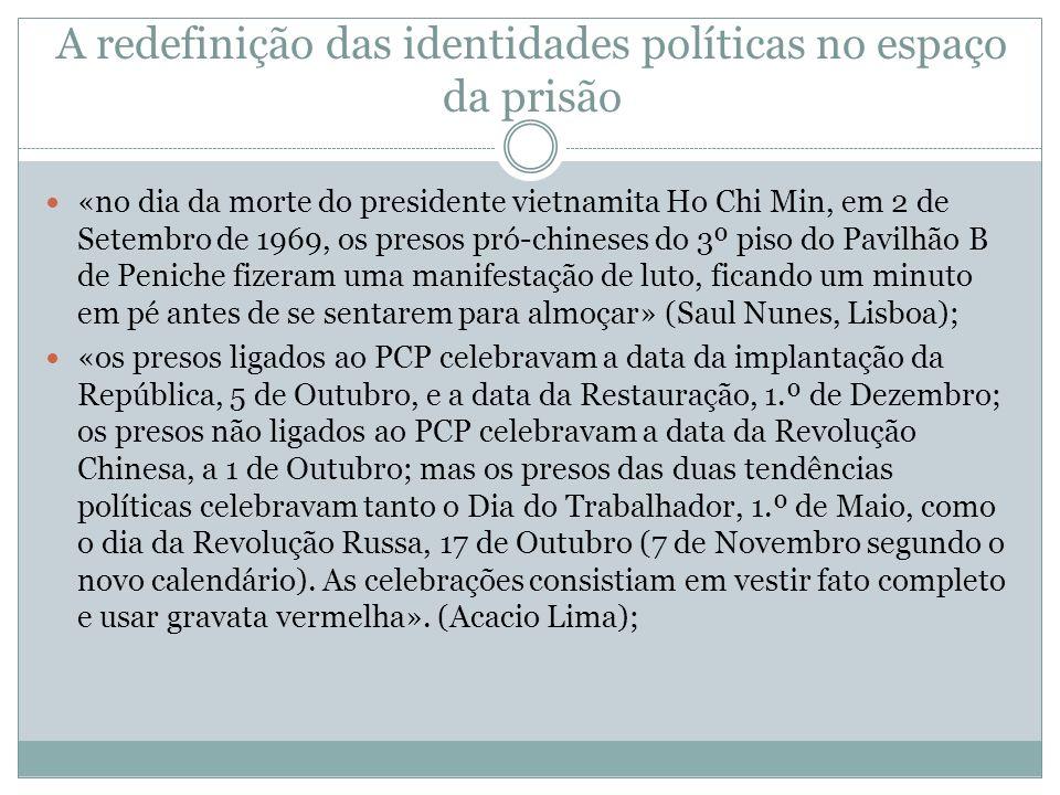 A redefinição das identidades políticas no espaço da prisão «no dia da morte do presidente vietnamita Ho Chi Min, em 2 de Setembro de 1969, os presos