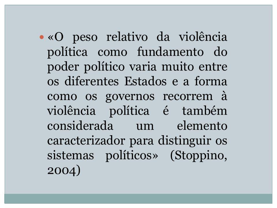 «O peso relativo da violência política como fundamento do poder político varia muito entre os diferentes Estados e a forma como os governos recorrem à violência política é também considerada um elemento caracterizador para distinguir os sistemas políticos» (Stoppino, 2004)