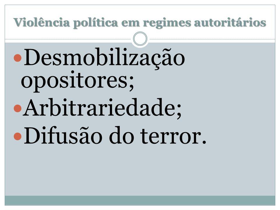 Violência política em regimes autoritários Desmobilização opositores; Arbitrariedade; Difusão do terror.