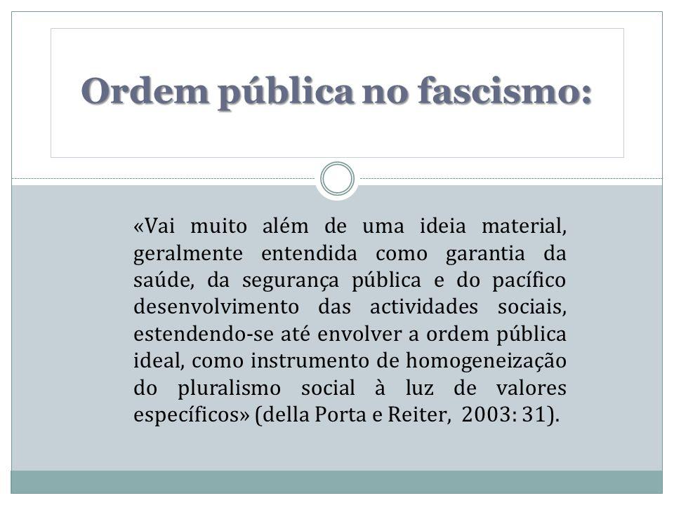 «Vai muito além de uma ideia material, geralmente entendida como garantia da saúde, da segurança pública e do pacífico desenvolvimento das actividades sociais, estendendo-se até envolver a ordem pública ideal, como instrumento de homogeneização do pluralismo social à luz de valores específicos» (della Porta e Reiter, 2003: 31).