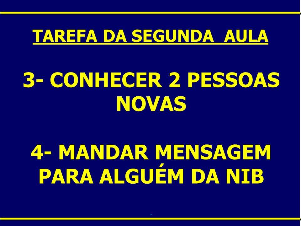 3- CONHECER 2 PESSOAS NOVAS 4- MANDAR MENSAGEM PARA ALGUÉM DA NIB. TAREFA DA SEGUNDA AULA
