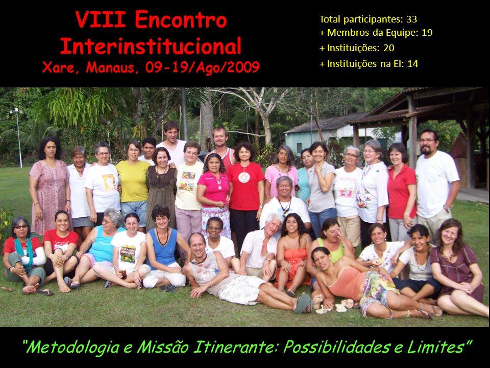 VIII Encontro Interinstitucional Xare, Manaus, 09-19/Ago/2009 Metodologia e Missão Itinerante: Possibilidades e Limites Total participantes: 33 + Membros da Equipe: 19 + Instituições: 20 + Instituições na EI: 14