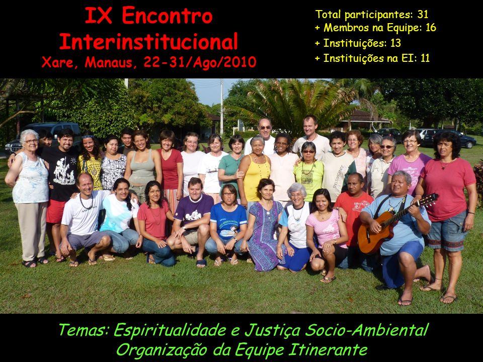 IX Encontro Interinstitucional Xare, Manaus, 22-31/Ago/2010 Temas: Espiritualidade e Justiça Socio-Ambiental Organização da Equipe Itinerante Total participantes: 31 + Membros na Equipe: 16 + Instituições: 13 + Instituições na EI: 11