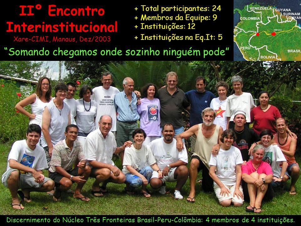 IIº Encontro Interinstitucional Xare-CIMI, Manaus, Dez/2003 + Total participantes: 24 + Membros da Equipe: 9 + Instituições: 12 + Instituições na Eq.I