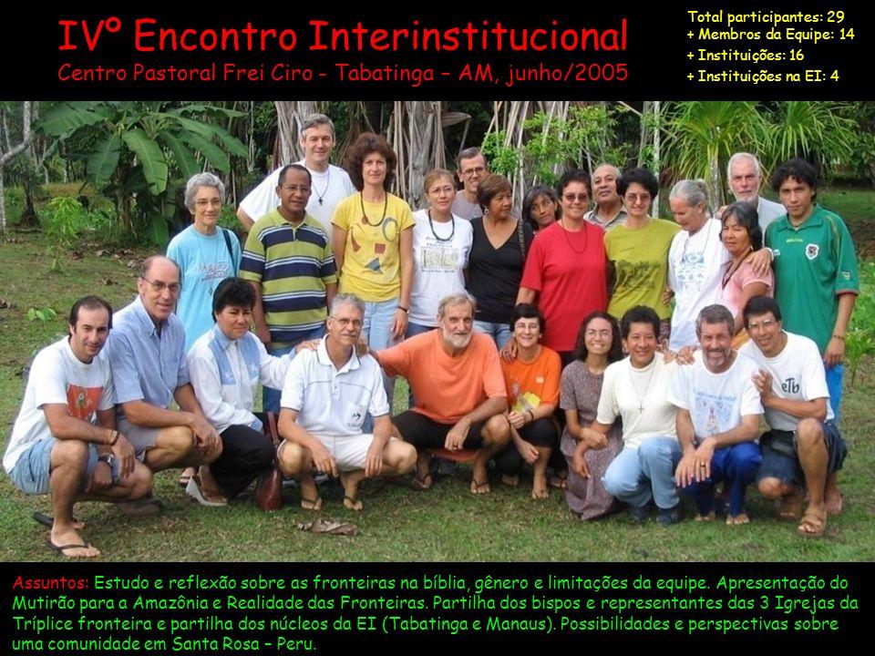 Vº Encontro Interinstitucional Xare, Centro Formação CIMI Manaus, agosto/2006 Total participantes: 41 + Equipe: 14 + Instituições: 20 + Instituições na Eq.It: 10 Assuntos: Revisão do Projeto da Comunidade e da Missão: 4ª versão da comunidade / 6ª versão da missão.