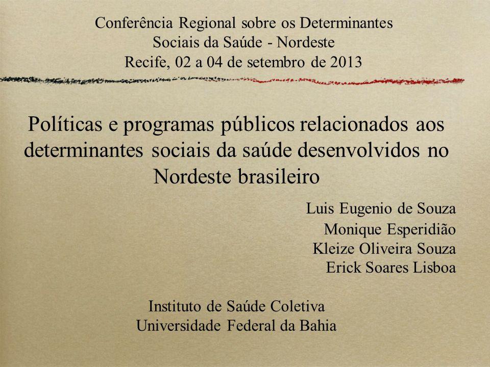 Conferência Regional sobre os Determinantes Sociais da Saúde - Nordeste Recife, 02 a 04 de setembro de 2013 Políticas e programas públicos relacionado
