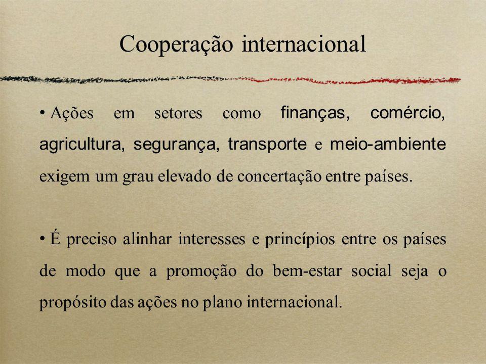 Cooperação internacional Ações em setores como finanças, comércio, agricultura, segurança, transporte e meio-ambiente exigem um grau elevado de concer