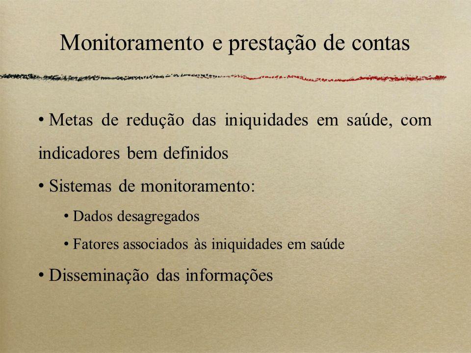 Monitoramento e prestação de contas Metas de redução das iniquidades em saúde, com indicadores bem definidos Sistemas de monitoramento: Dados desagreg