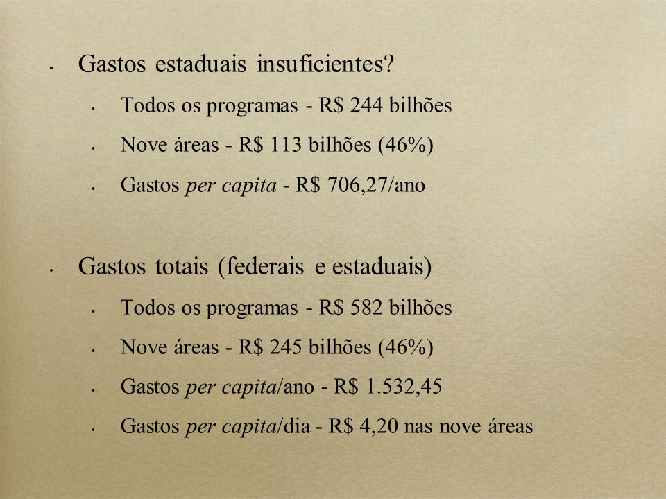 Gastos estaduais insuficientes.