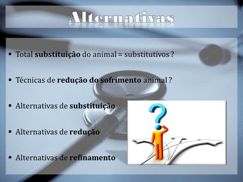 Total substituição do animal = substitutivos .Técnicas de redução do sofrimento animal .