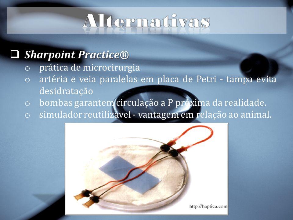 Sharpoint Practice® Sharpoint Practice® o prática de microcirurgia o artéria e veia paralelas em placa de Petri - tampa evita desidratação o bombas garantem circulação a P próxima da realidade.